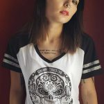 Sugar Skull White Racer T-Shirt (Ladies)
