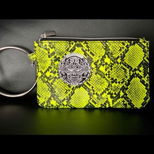 Yellow Snakeskin Wristlet Ringed Purse